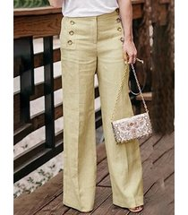botón de bolsillos laterales beige diseño pierna ancha pantalones