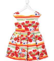 abel & lula sleeveless pleated floral print dress - white