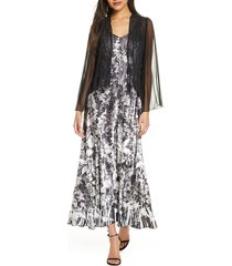 women's komarov floral charmeuse & chiffon maxi dress & jacket