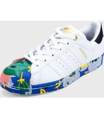 tenis lifestyle blanco-multicolor adidas originals superstars,