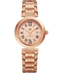 alexander watch ad203b-05, ladies quartz date watch with rose gold tone stainless steel case on rose gold tone stainless steel bracelet
