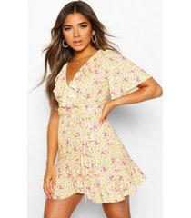 petite ditsy floral wrap tea dress, yellow