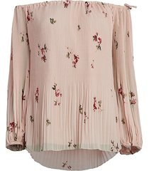 catherine malandrino women's off-the-shoulder floral top - pink - size xs