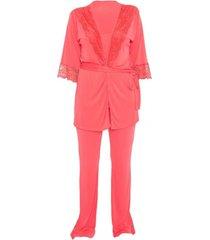 conjunto pijama de alça e robe mari m lingerie coral