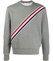 classic tri-color stripe sweatshirt, medium grey