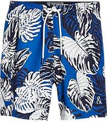 paisley & gray slim fit swim shorts blue & white