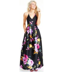 bcx juniors' floral-print cross-back gown, created for macy's