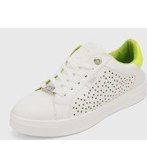 tenis blanco-verde  xti