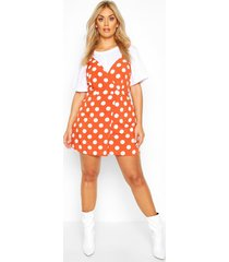 plus polka dot wrap pinafore dress, terracotta