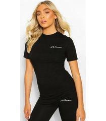 woman print slim fit top, black