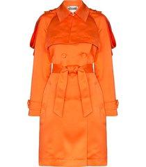 moschino embellished-epaulette trench coat - orange