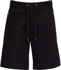 dolce & gabbana black cotton blend bermuda shorts