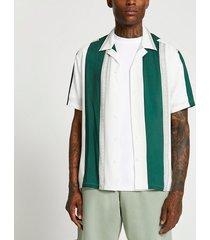 river island mens cream stripe geometric short sleeve shirt