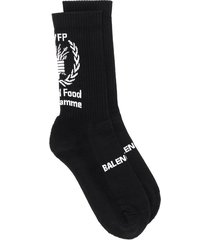 balenciaga world food programme print socks - black