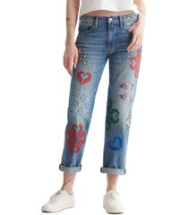 lucky brand cotton embroidered mid-rise jeans
