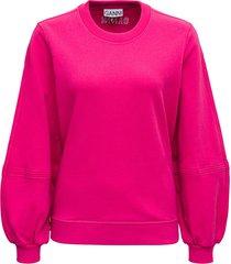 ganni pink recycled cotton sweatshirt