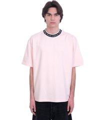 acne studios extorr logo t-shirt in rose-pink viscose