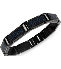 esquire men's jewelry diamond (1/5 ct. t.w.) & blue carbon fiber link bracelet in black ion-plated stainless steel, created for macy's