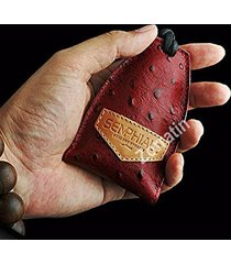 handmade luxury ostrich pattern real leather key case pouch bag universal fit bm
