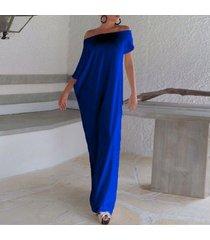 zanzea plus s-3xl de las mujeres de playa de boho del partido de tarde de manga corta maxi largo vestido de tirantes dresss (azul) -azul