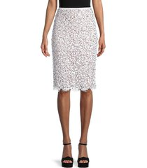 michael kors women's embellished lace pencil skirt - optic white - size 4