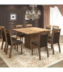 mesa de jantar 8 lugares voal dover/chocolate - mobilarte móveis