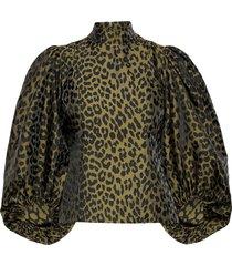 crispy jacquard blouse lange mouwen groen ganni