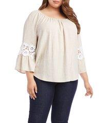 plus size women's karen kane lace inset peasant blouse