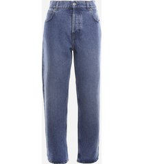 loewe anagram cotton jeans with leather insert