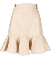 sandro paris peplum-hem mini skirt - neutrals