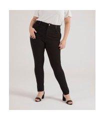 calça legging com detalhe em material sintético curve & plus size | ashua curve e plus size | preto | gg