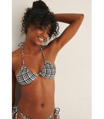 na-kd swimwear rutigt mönster trekantsbikini-topp - black