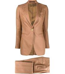 tagliatore two-piece linen suit set - brown