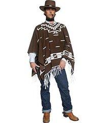 smiffy's western wandering gunman poncho faux shirt halloween costume 34291