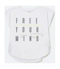 camiseta esportiva em poliamida com estampa escrita free your mind | get over | branco | p