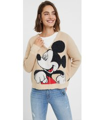 mickey mouse knit jacket - brown - xl