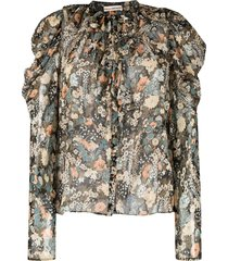 ulla johnson colette silk-blend blouse - green