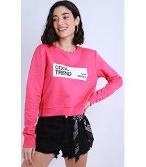 """blusão de moletom felpado feminino cropped """"cool trend"""" pink"""