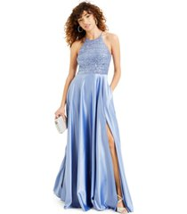 b darlin juniors' sequin satin halter gown, created for macy's