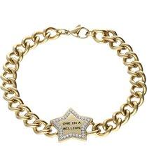 bracciale lady message acciaio dorato love e cristalli per donna