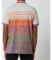 missoni men's gradient stripe jersey pique polo shirt - multi - l
