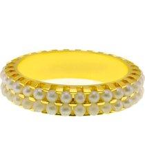 aliança horus import aparador dupla pérolas banho ouro 18 k dourado