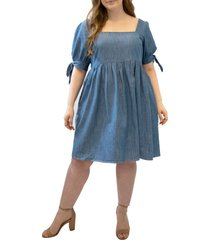 plus size women's maree pour toi tie sleeve denim babydoll dress, size 22w - blue