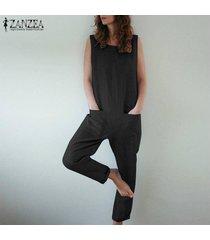 zanzea mujeres sin mangas del hombro bib pantalones cargo dungraee trajes monos tops -negro