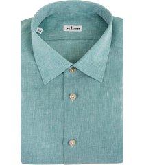 man regular fit shirt in aquamarine linen