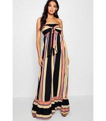 tall knot front stripe maxi dress, desert sand