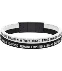 emporio armani women's black stainless steel multi-strand bracelet