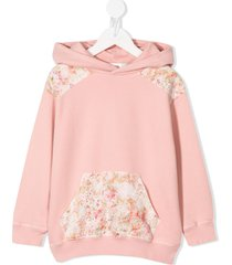 bonpoint floral-patchwork hooded sweatshirt - pink