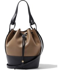 balloon medium two-tone leather bucket bag