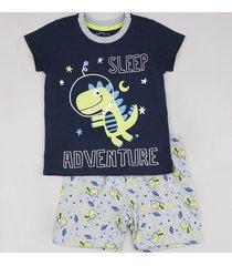 "pijama infantil dinossauro ""sleep adventure"" manga curta azul marinho"